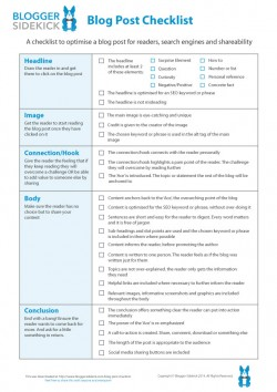 Blogger Sidekick Blog Post Checklist
