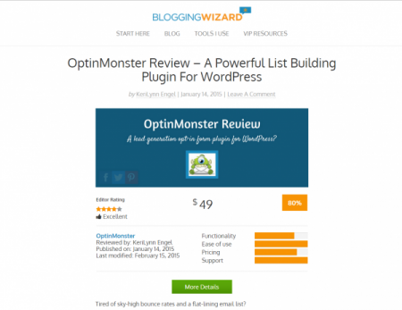 Blogging Wizard Product Review - Optin Monster