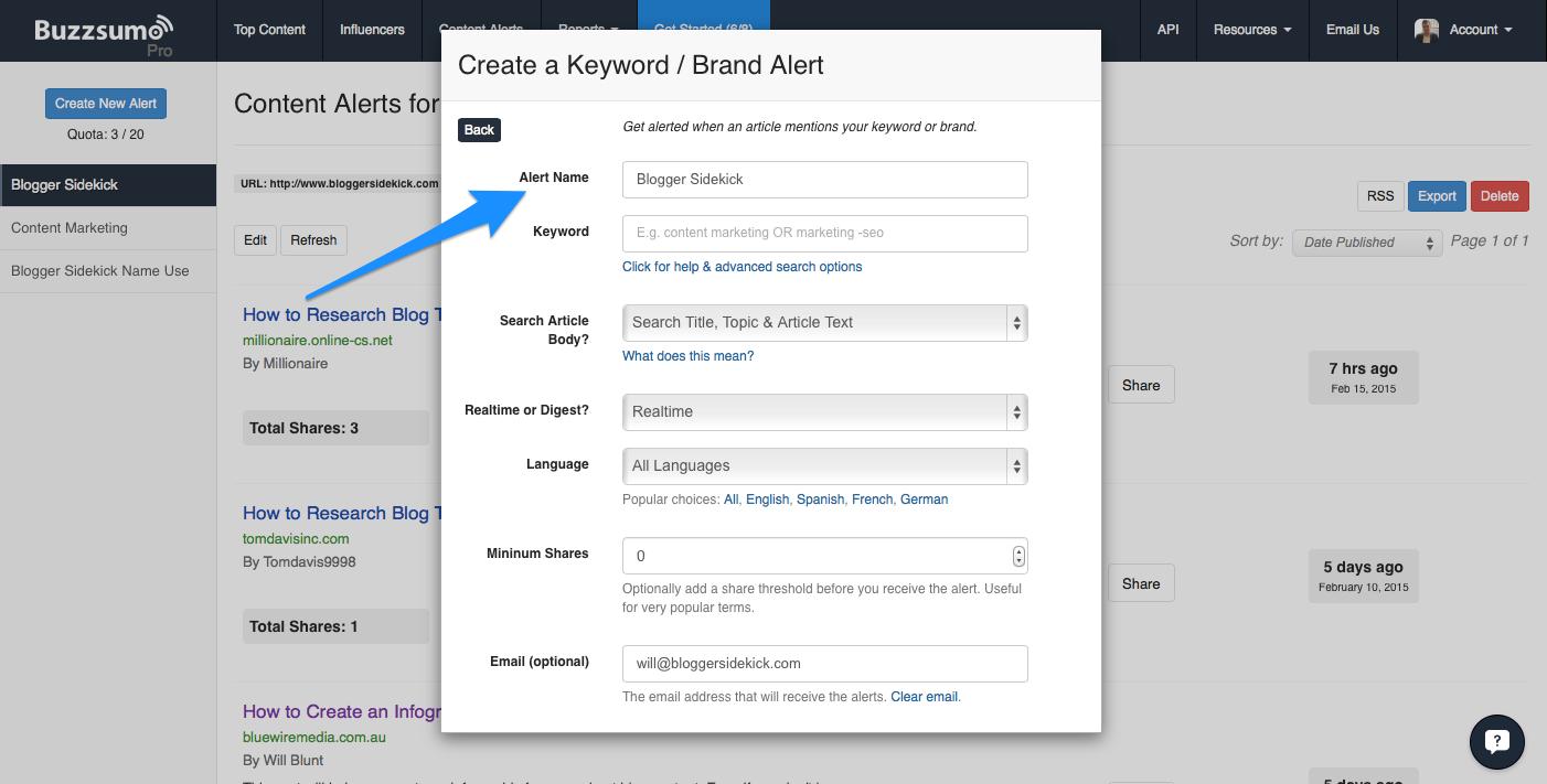 BuzzSumo Example Content Alert