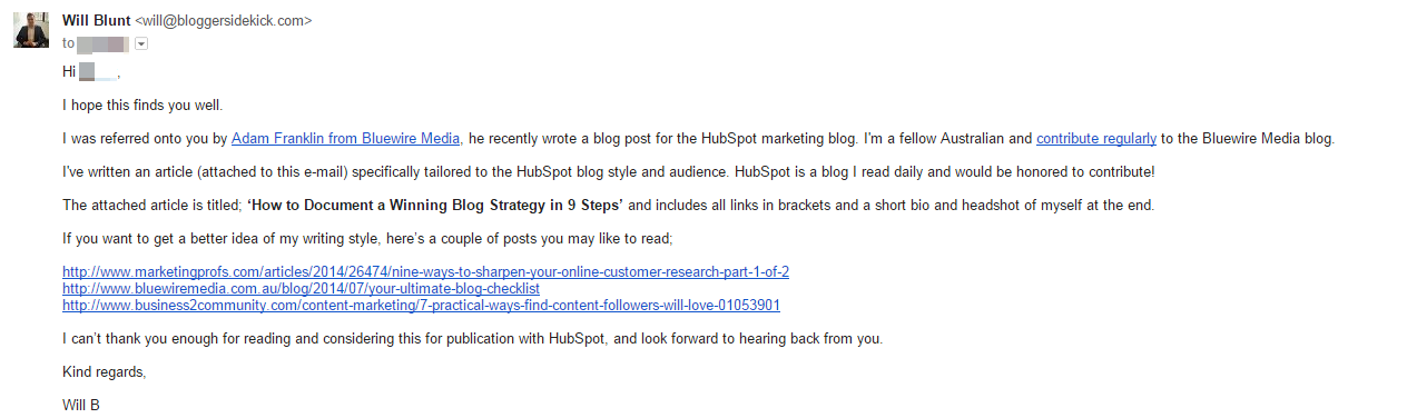 Guest blogging email example