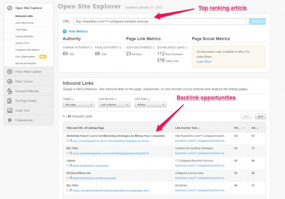 Moz Open Site Explorer Backlink Analyzer