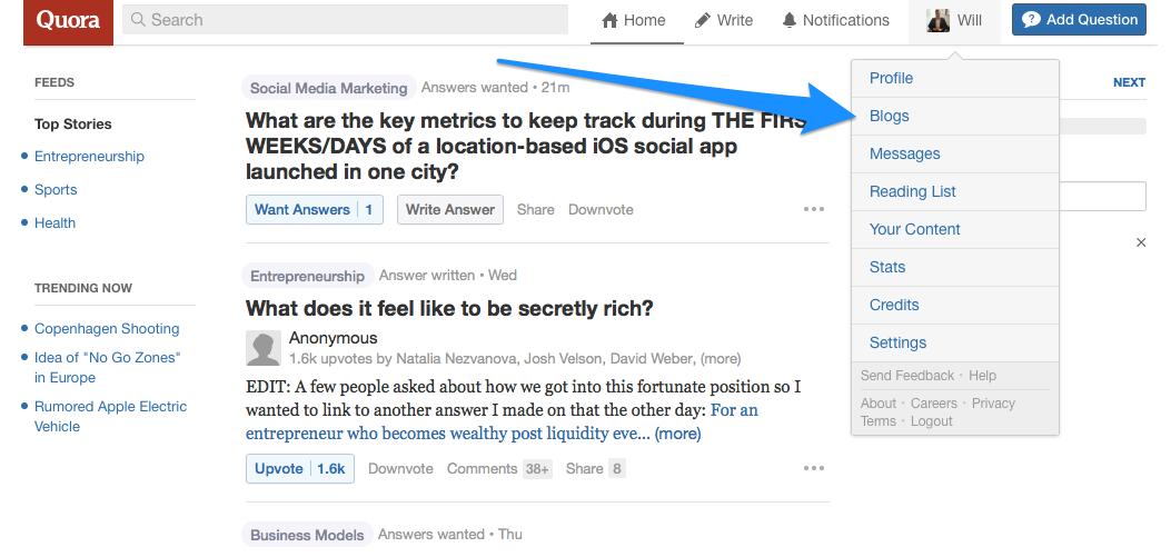 Quora set up a blog for backlinks