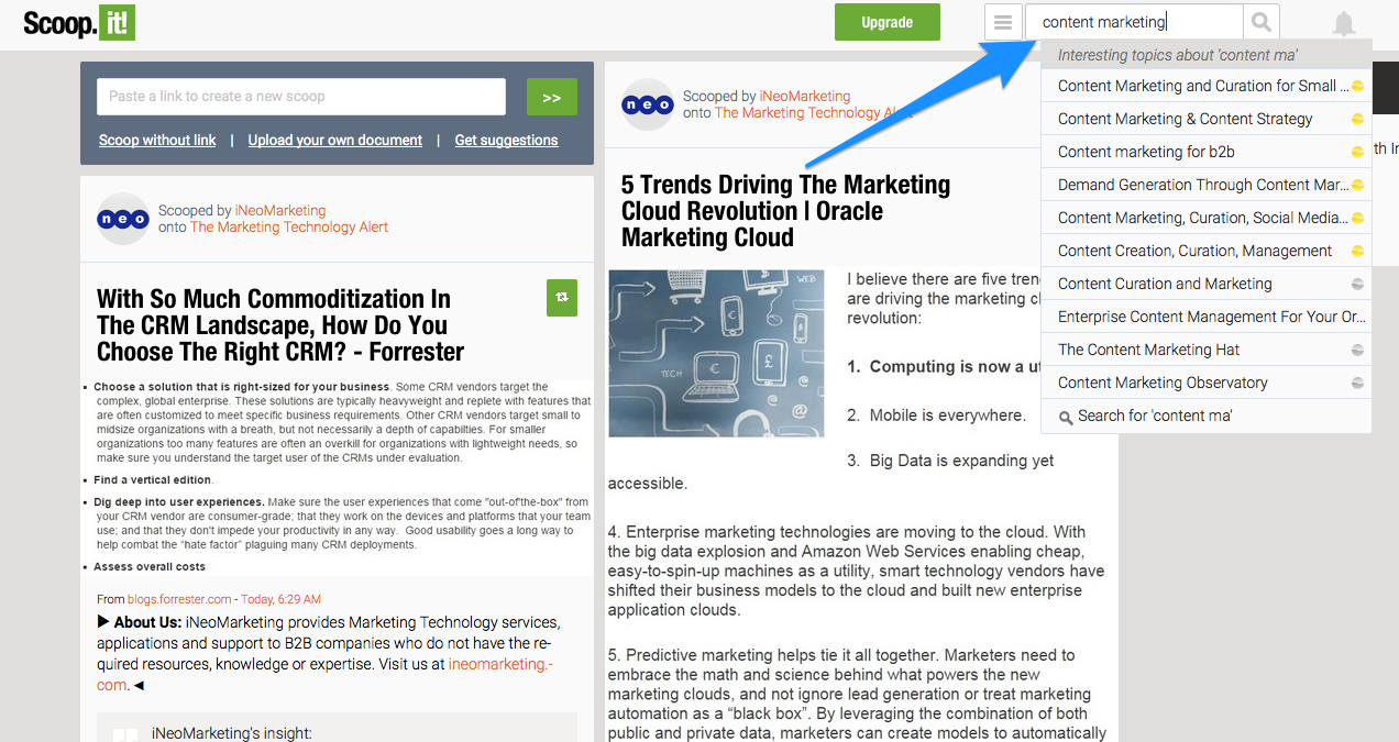 Scoop.it content marketing search