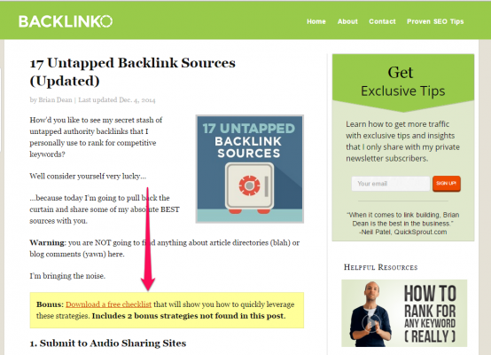 In-text CTA from backlinko
