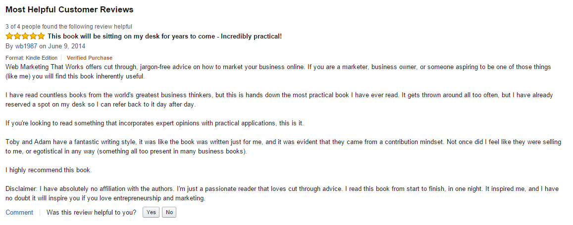 Amazon review for Adam Franklin book