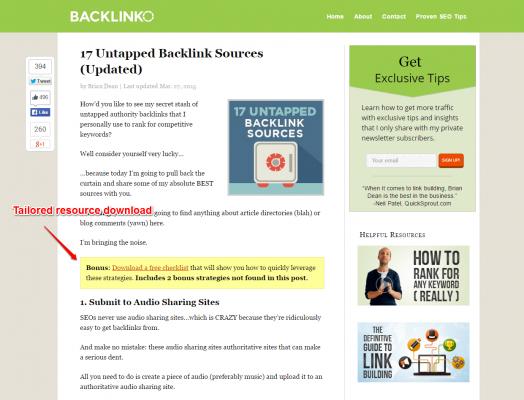 Backlinko email capture blog post
