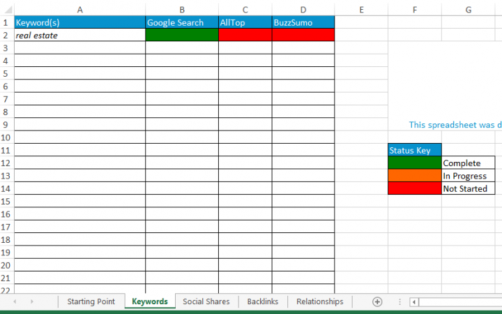 Blogger Outreach Spreadsheet Keyword Tab