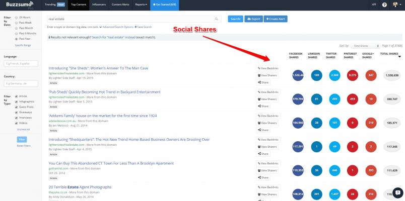 BuzzSumo social shares for blogger outreach