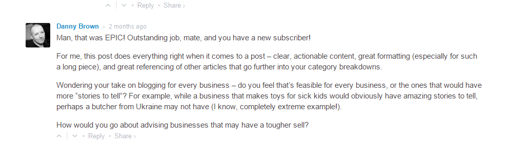 Danny Brown comment - example of blogger outreach