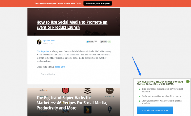 Slide in email capture box - Buffer Blog