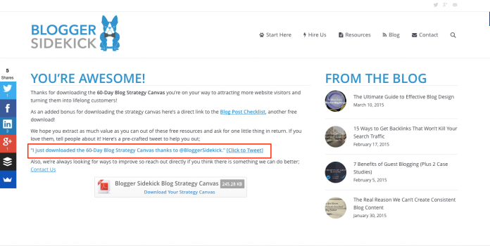 Thank you page email list building - Blogger Sidekick