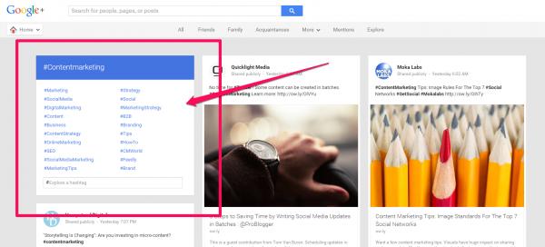 Google Plus SEO Strategy hashtags examples