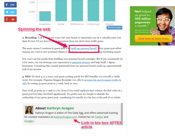 Quick sprout internal linking example screenshot