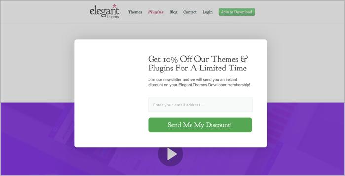 Bloom popup wordpress plugin example - elegant themes