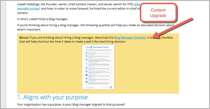 Content upgrade example for wordpress popup plugins