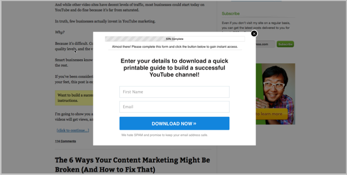 Example of LeadPages on Quicksprout - popup wordpress plugin