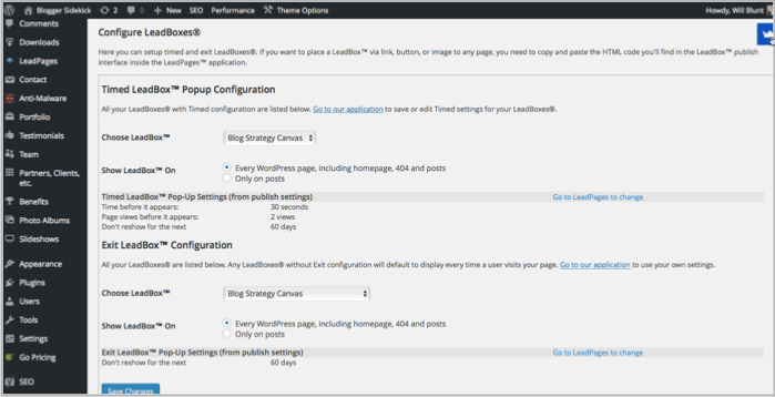 LeadBoxes popup wordpress plugin screenshot