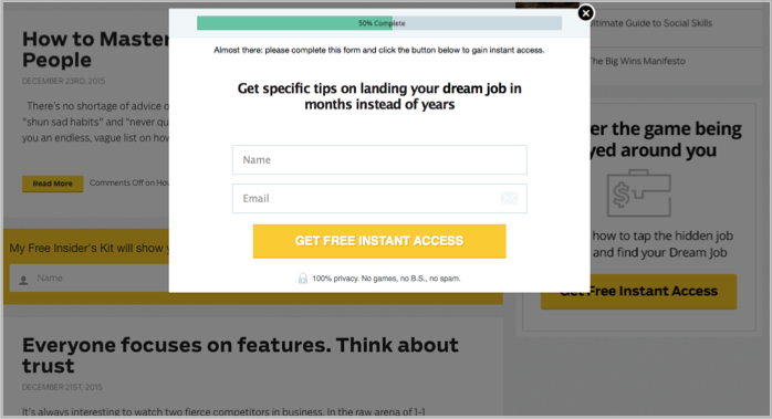 LeadPages in action on Ramit's blog - popup wordpress plugins