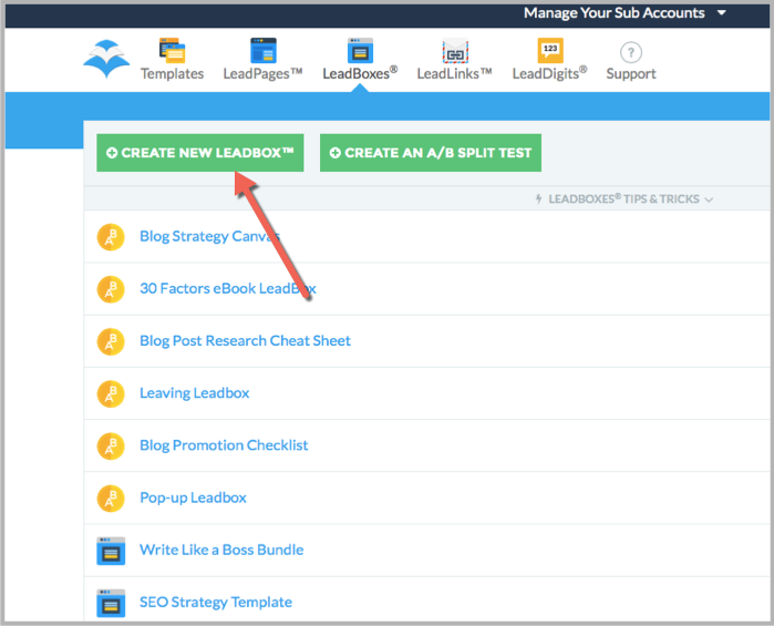 New leadbox - example of popup wordpress plugin
