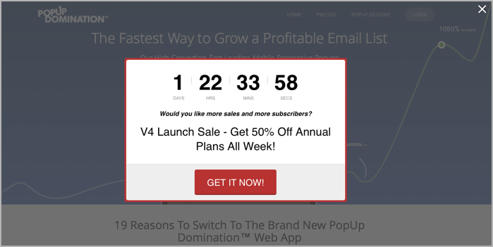 Popup domination example with countdown timer