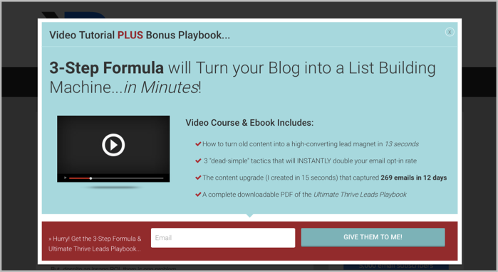 Thrive Leads in Action - popup wordpress plugin