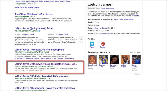 ESPN content anchor in search results