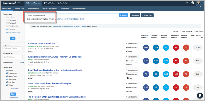 BuzzSumo search for small business strategy