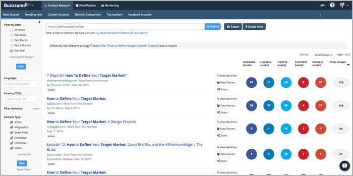 Buzzsumo - target customer research