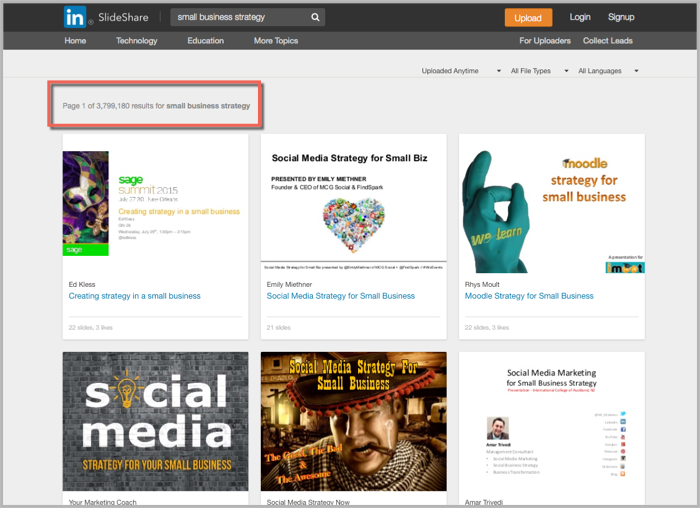 Slideshare small business strategy search