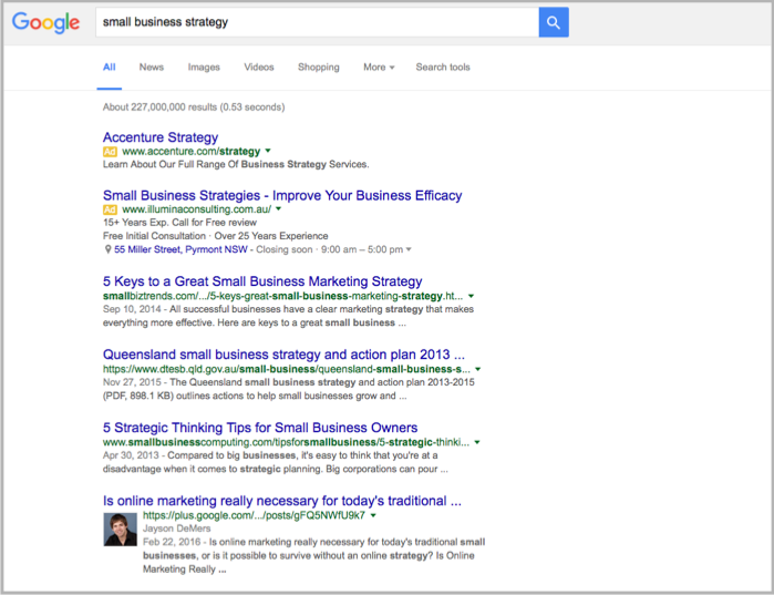 Small business strategy google search for creating content
