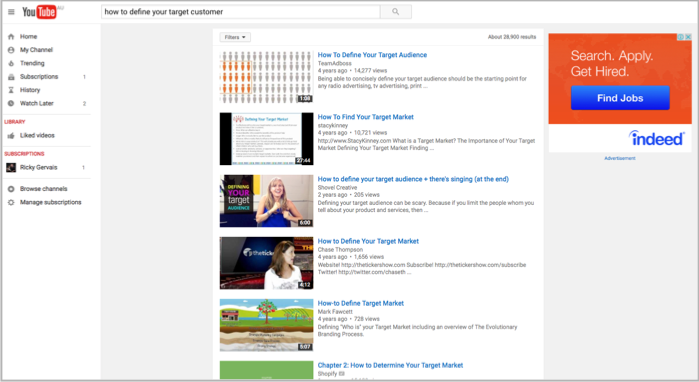 Target customer research - youtube