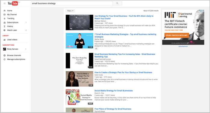 Youtube small business strategy search