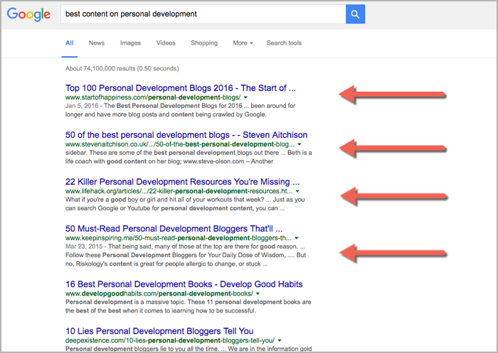 Personal development round ups for how to get backlinks