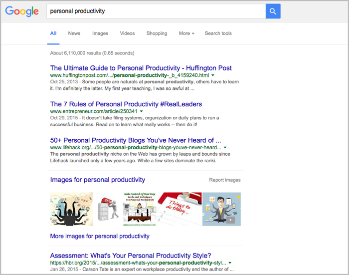 Personal productivity example for how to get backlinks