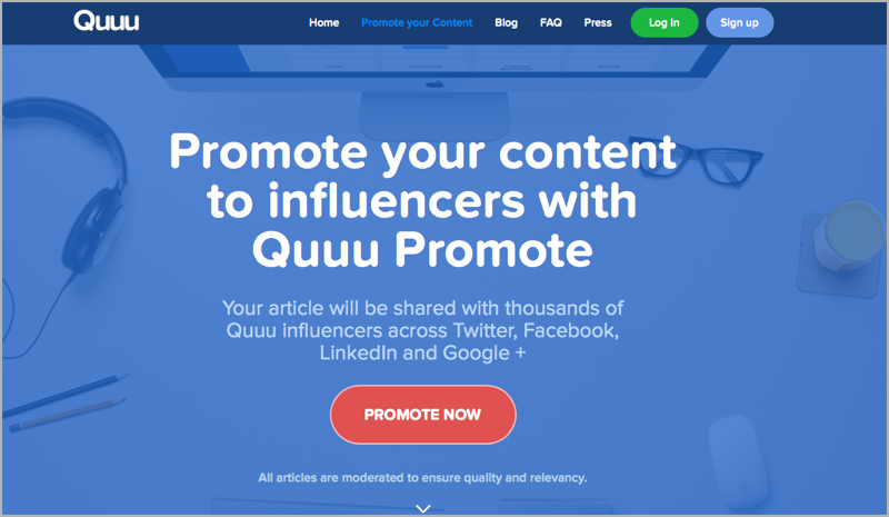 Quuu for blog outsourcing management