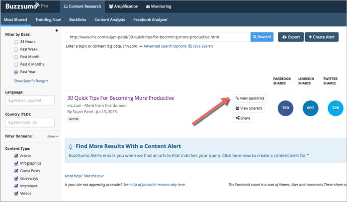 View backlinks in BuzzSumo