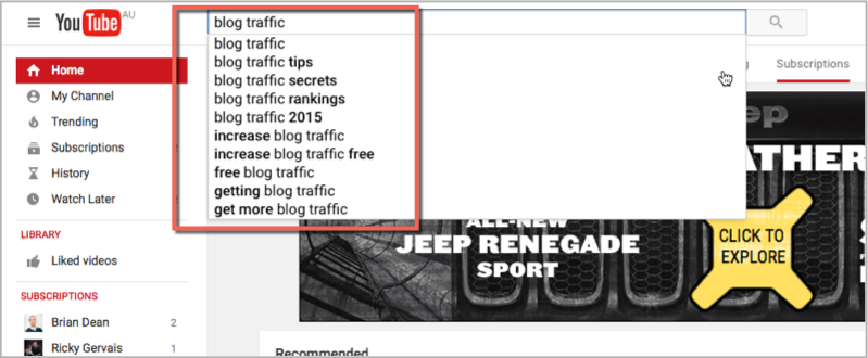Blog traffic youtube search for keywords