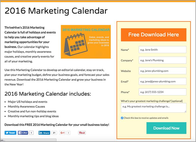 Free Calendar for lead magnet ideas