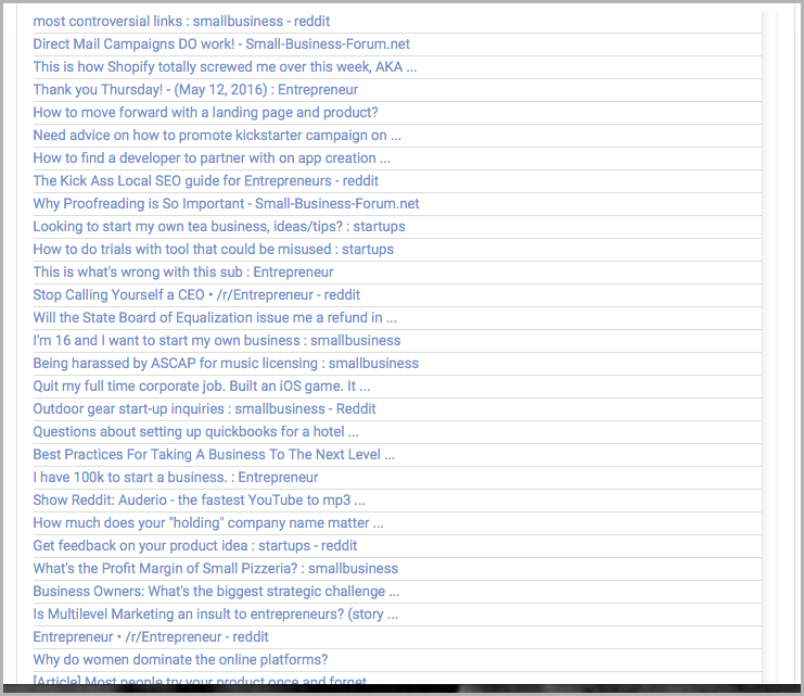 Keywords from WebPageFX