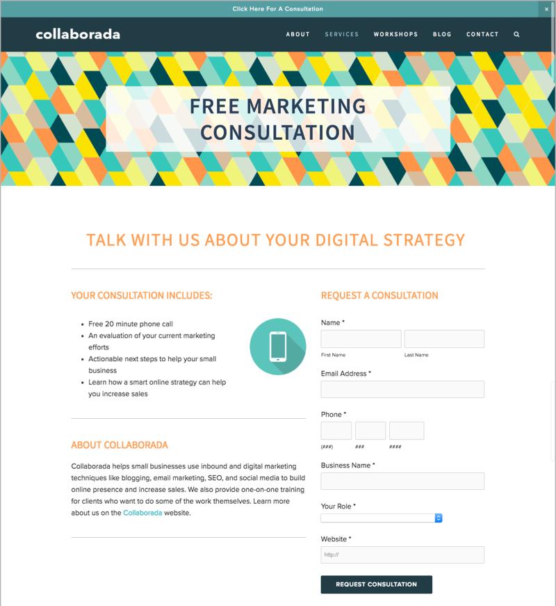 Free Marketing Consultation as a lead magnet idea